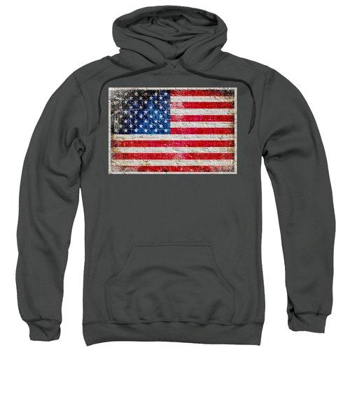 Distressed American Flag On Old Brick Wall - Horizontal Sweatshirt