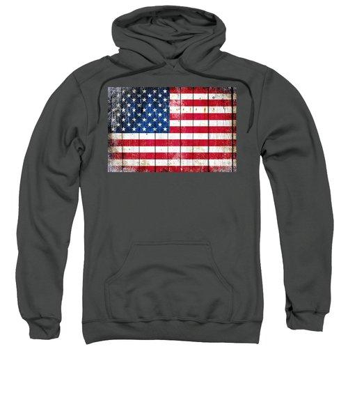 Distressed American Flag On Wood Planks - Horizontal Sweatshirt