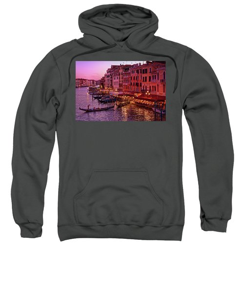 A Cityscape With Vintage Buildings And Gondola - From The Rialto In Venice, Italy Sweatshirt