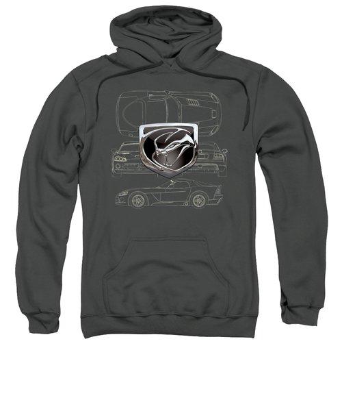 Dodge Viper  3 D  Badge Over Dodge Viper S R T 10 Blueprint  Sweatshirt by Serge Averbukh