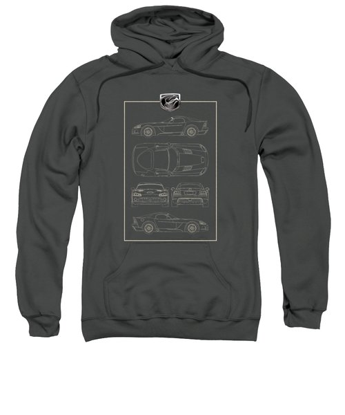 Dodge Viper  S R T 10  Blueprint With Dodge Viper  3 D  Badge Over Sweatshirt