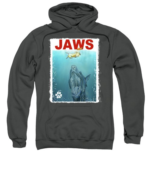Dog-themed Jaws Caricature Art Print Sweatshirt