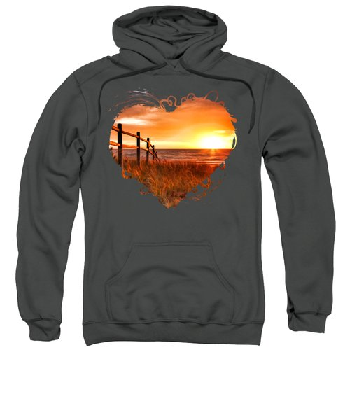 Sweatshirt featuring the painting Door County Europe Bay Fence Sunrise by Christopher Arndt