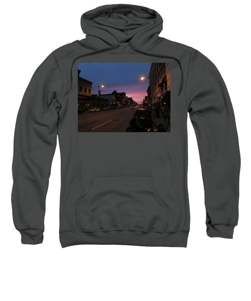Sweatshirt featuring the photograph Downtown Racine At Dusk by Mark Czerniec