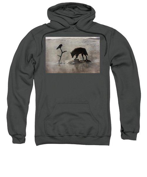 Druid Wolf And Raven Silhouette Sweatshirt