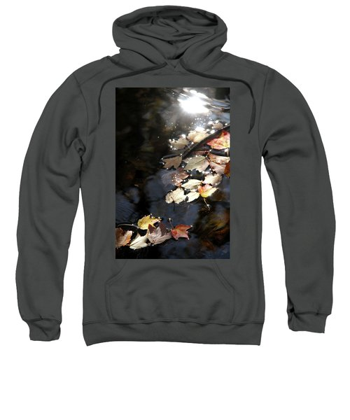 Dry Leaves Floating On The Surface Of A Stream Sweatshirt