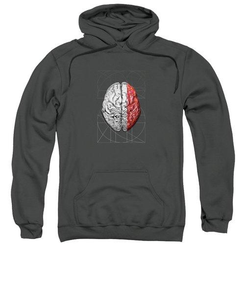Dualities - Half-silver Human Brain On Red And Black Canvas Sweatshirt