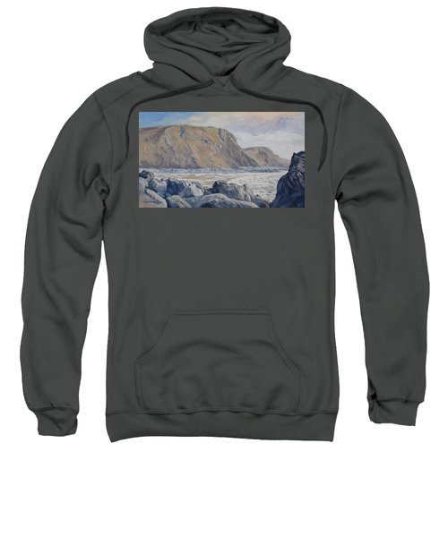 Sweatshirt featuring the painting Duckpool Boulders by Lawrence Dyer
