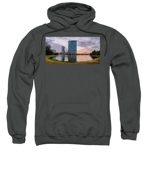 Dusk Panorama Of The Woodlands Waterway And Anadarko Petroleum Towers - The Woodlands Texas Sweatshirt