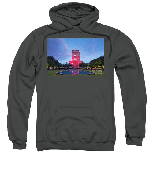 Early Dawn Architectural Photograph Of Houston City Hall And Hermann Square - Downtown Houston Texas Sweatshirt