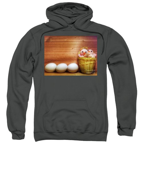 Easter Basket Of Pink Chicks With Eggs Sweatshirt