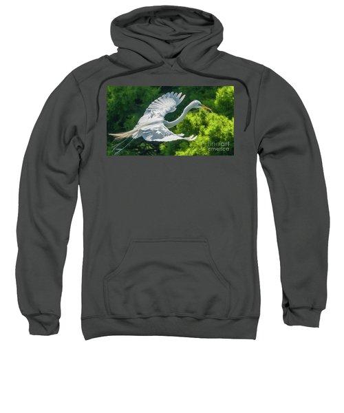 Egret Flying With Twigs Sweatshirt