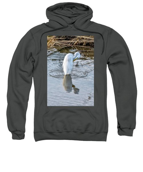 Egret Standing In A Stream Preening Sweatshirt
