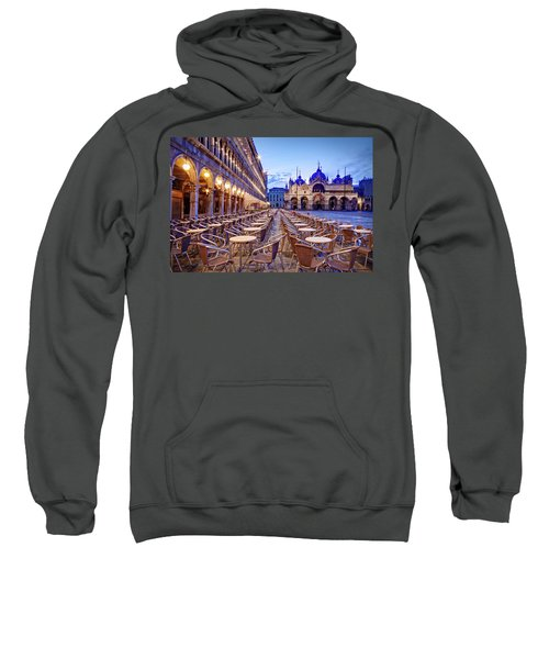 Empty Cafe On Piazza San Marco - Venice Sweatshirt