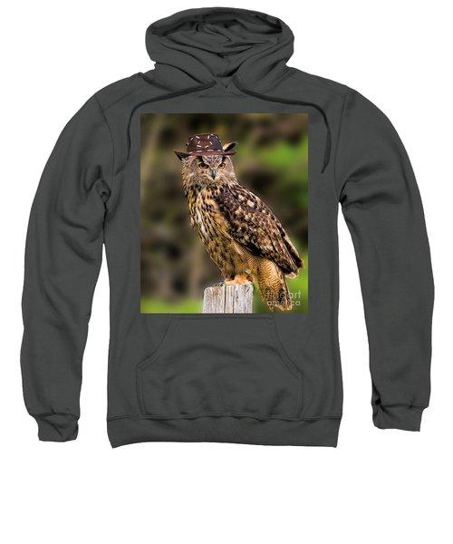 Eurasian Eagle Owl With A Cowboy Hat Sweatshirt