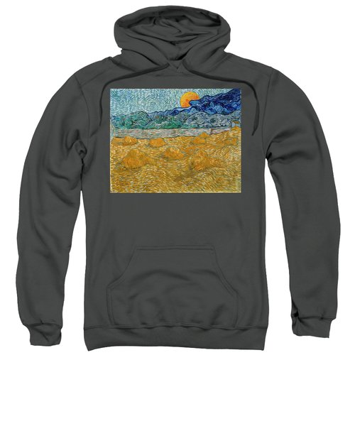 Sweatshirt featuring the painting Evening Landscape With Rising Moon by Van Gogh