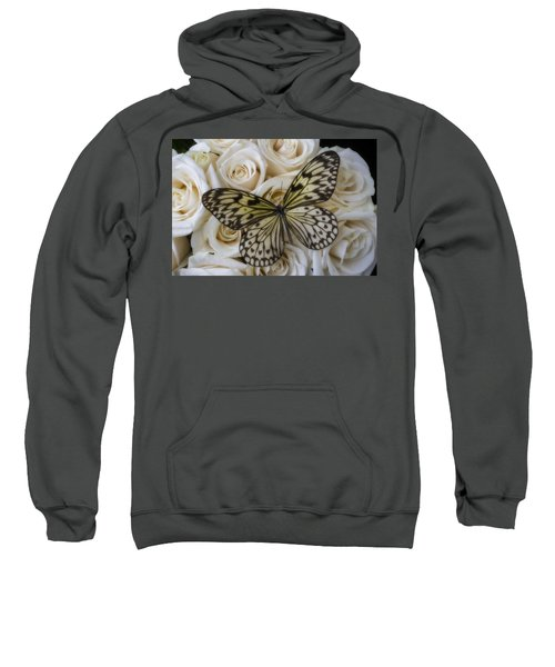 Exotic Butterfly On White Roses Sweatshirt