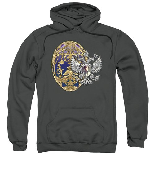 Faberge Tsarevich Egg With Surprise On Red Velvet Sweatshirt