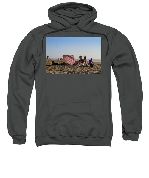 Family At Ocean Beach With Dogs Sweatshirt