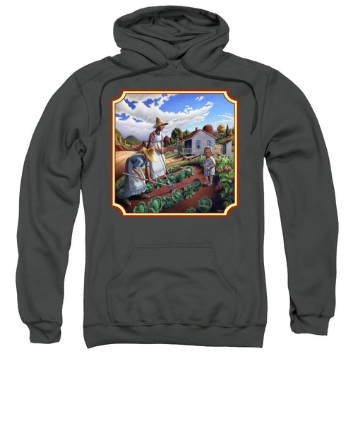 Family Garden Country Farm Landscape - Square Format Sweatshirt
