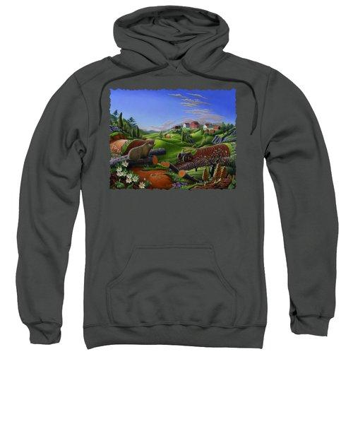 Farm Folk Art - Groundhog Spring Appalachia Landscape - Rural Country Americana - Woodchuck Sweatshirt