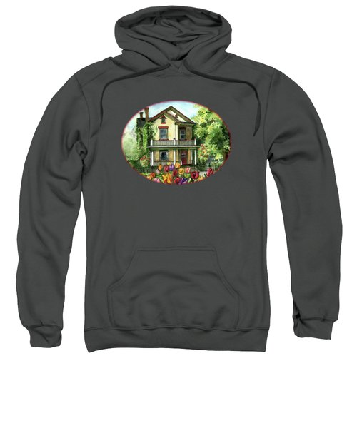 Farmhouse With Spring Tulips Sweatshirt by Shelley Wallace Ylst