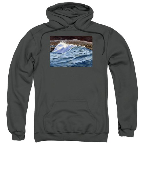 Sweatshirt featuring the painting Fat Wave by Lawrence Dyer