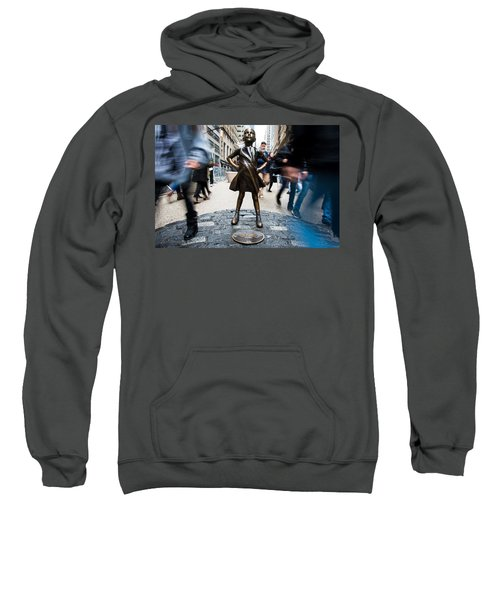 Sweatshirt featuring the photograph Fearless Girl by Stephen Holst