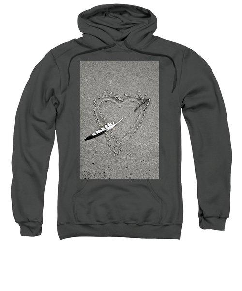 Feather Arrow Through Heart In The Sand Sweatshirt