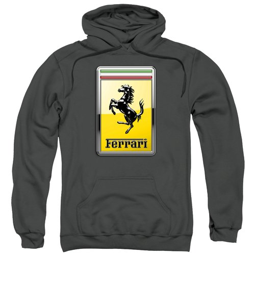 Ferrari 3d Badge-hood Ornament On Red Sweatshirt