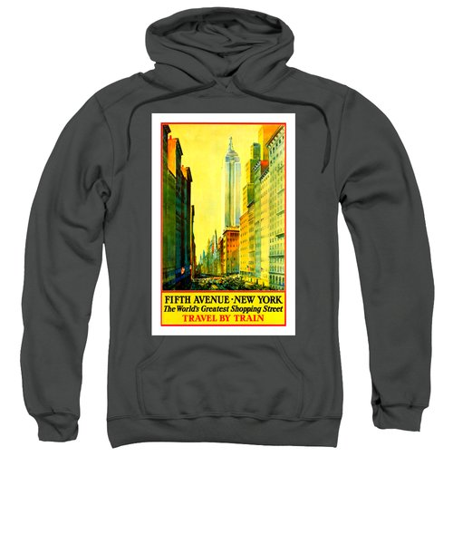 Fifth Avenue New York Travel By Train 1932 Frederick Mizen Sweatshirt by Peter Gumaer Ogden Collection