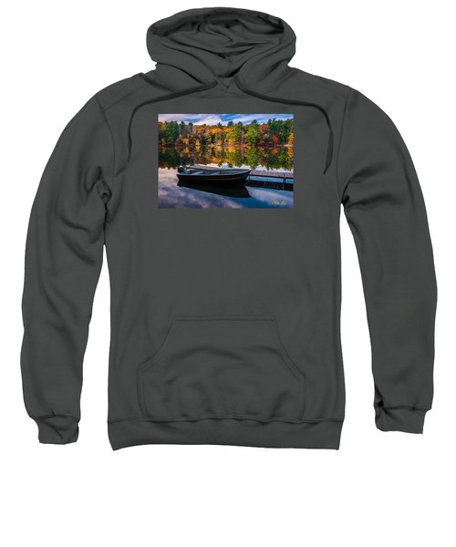 Sweatshirt featuring the photograph Fishing Boat On Mirror Lake by Rikk Flohr