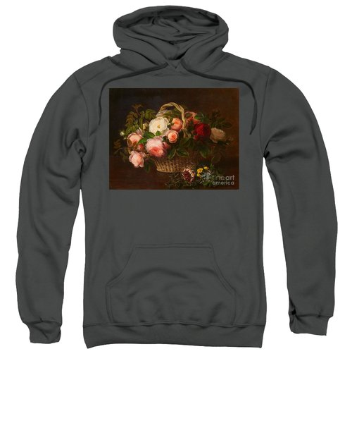 Floral Still Life In A Basket Sweatshirt
