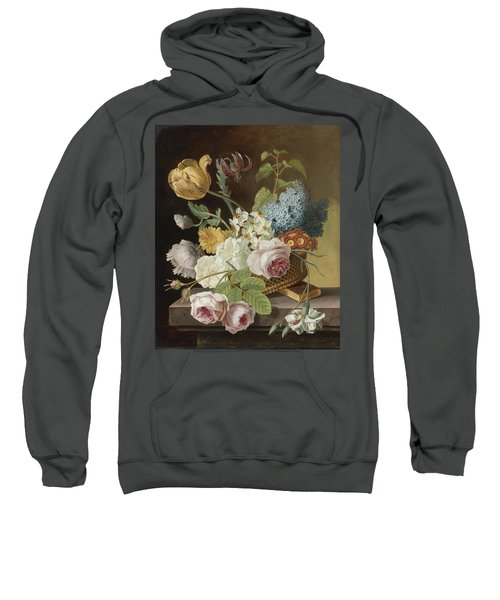 Flower Still Life With Roses Tulips Narcissi And Other Flowers In A Basket On A Ledge Sweatshirt