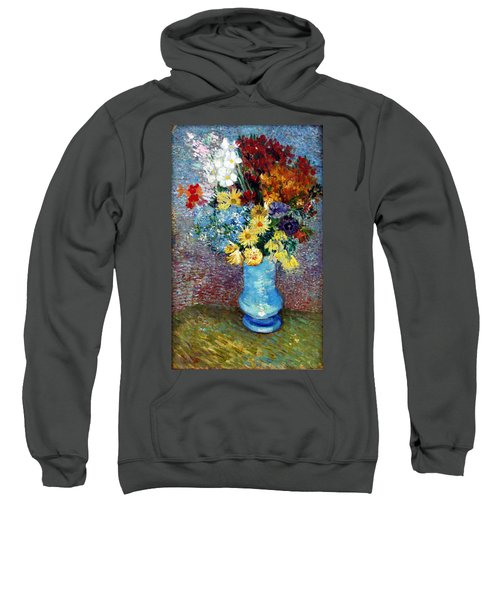 Sweatshirt featuring the painting Flowers In A Blue Vase  by Van Gogh