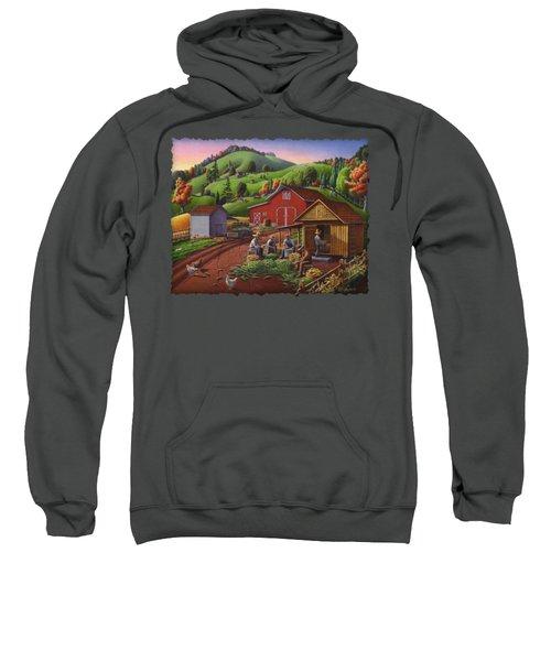 Folk Art Americana - Farmers Shucking Harvesting Corn Farm Landscape - Autumn Rural Country Harvest  Sweatshirt