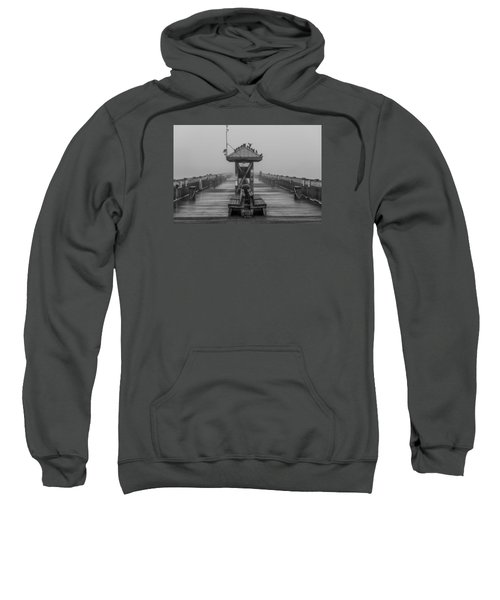 Folly Beach Pier Black And White  Sweatshirt