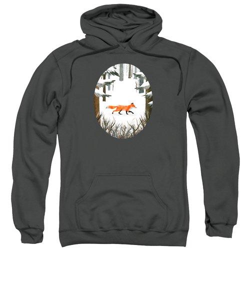 Fox In A Late Winter Snowfall Sweatshirt