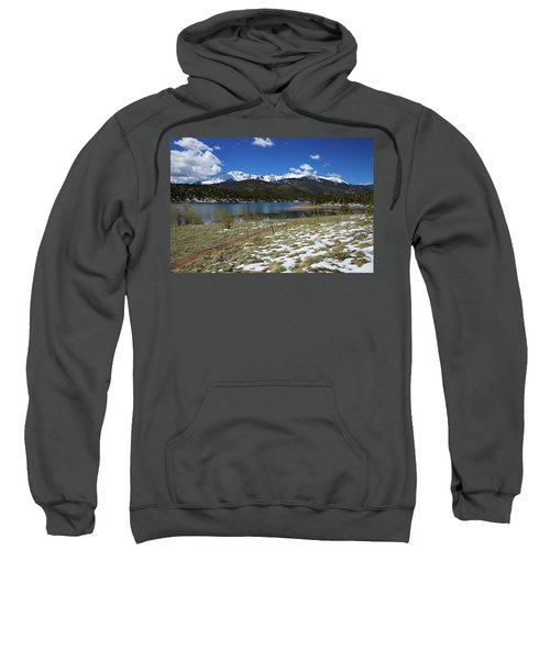 Fresh Snow Along The Banks Of Crystal Creek Reservoir With Pikes Sweatshirt