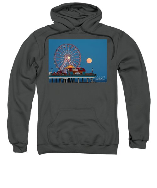 Full Moon Rising Above The Gulf Of Mexico - Historic Pleasure Pier - Galveston Island Texas Sweatshirt