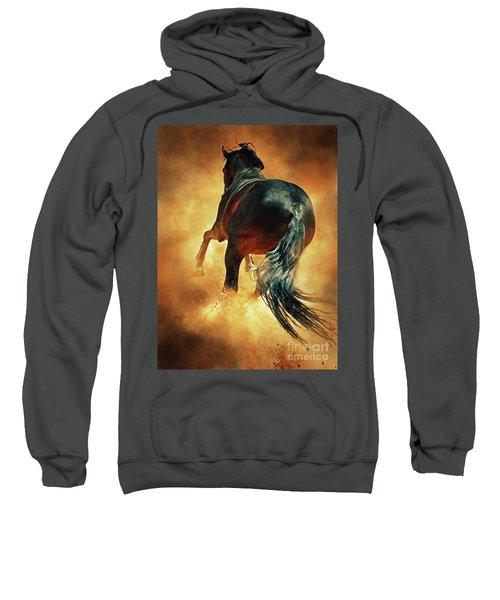 Galloping Horse In Fire Dust Sweatshirt