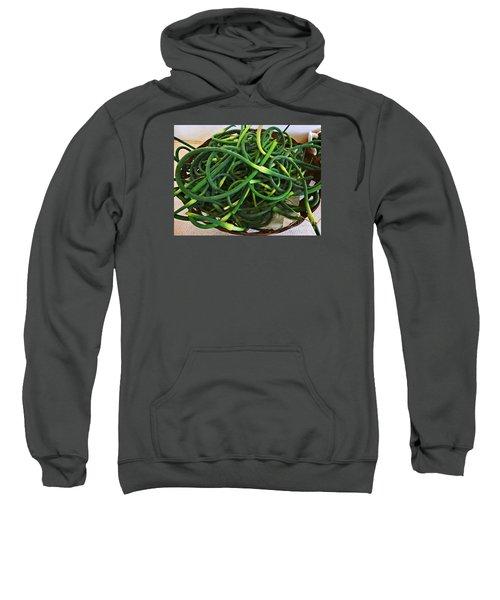 Sweatshirt featuring the photograph Tender Garlic Stems by Dee Flouton