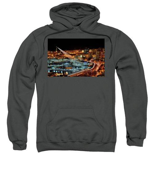 Genoa And The Lighthouse By Night - Genova E La Sua Lanterna  Sweatshirt