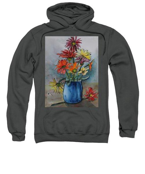 Gerberas In A Blue Pot Sweatshirt
