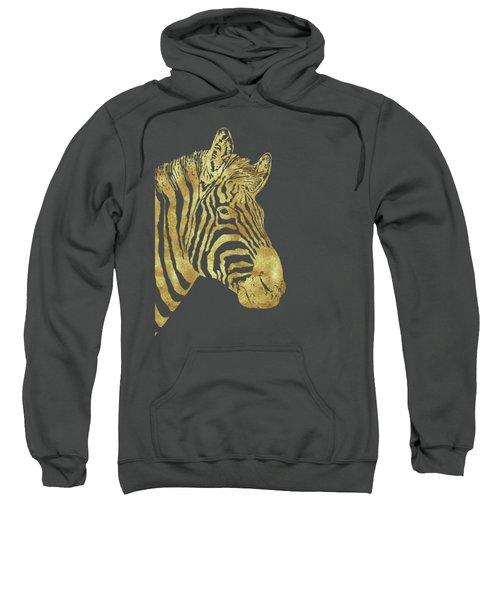 Gilt Zebra, African Wildlife, Wild Animal In Painted Gold Sweatshirt by Tina Lavoie