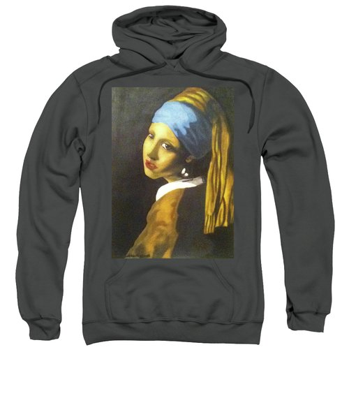 Sweatshirt featuring the painting Girl With Pearl Earring by Jayvon Thomas