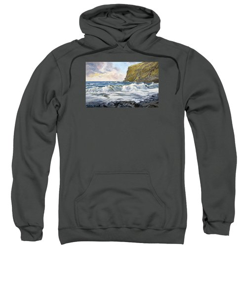 Sweatshirt featuring the painting Glowing Sky At Pencannow Point by Lawrence Dyer