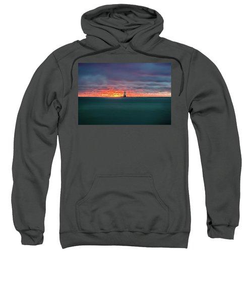Glowing Sunset On Lake With Lighthouse Sweatshirt