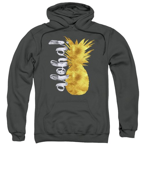 Gold And Silver Aloha Pineapple Tropical Fruit Of Hawaii Sweatshirt by Tina Lavoie
