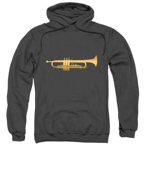 Gold Embossed Trumpet On Dark Red Background Sweatshirt